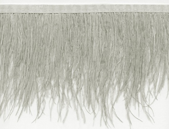 "Ostrich Feather Trim in ""Pale Grey"" - Yard(s) - Product Image"