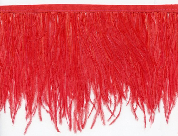 "Ostrich Feather Trim in ""Red"" - Yard(s) - Product Image"