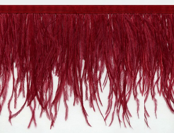 "Ostrich Feather Trim in ""Wine"" - Yard(s) - Product Image"