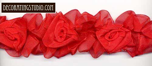 """Red American Beauty"" Organza Flower Trim yard(s) - Product Image"