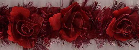 """""""Rose Red"""" Organza/Chenille Flower Trim yard(s) - Product Image"""