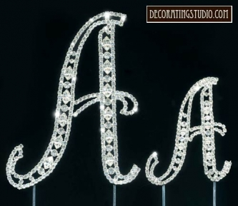 "Set of 2 ""Large"" Monogram Crystal Marquise Cut Cake Toppers - Product Image"