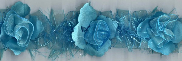 """""""Turquoise"""" Organza/Chenille Flower Trim yard(s) - Product Image"""
